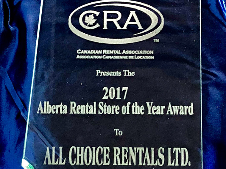 ACR Wins 2017 Canadian Rental Association Alberta Rental Store Of The Year Award