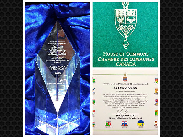 All Choice Proudly Accepts 2018 Drayton Valley Business Achievement Award