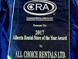 ACR Wins 2017 Canadian Rental Association Alberta Rental Store Of The Year Award