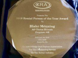 Blake Menning Wins 2018 Canadian Rental Person Of The Year Award