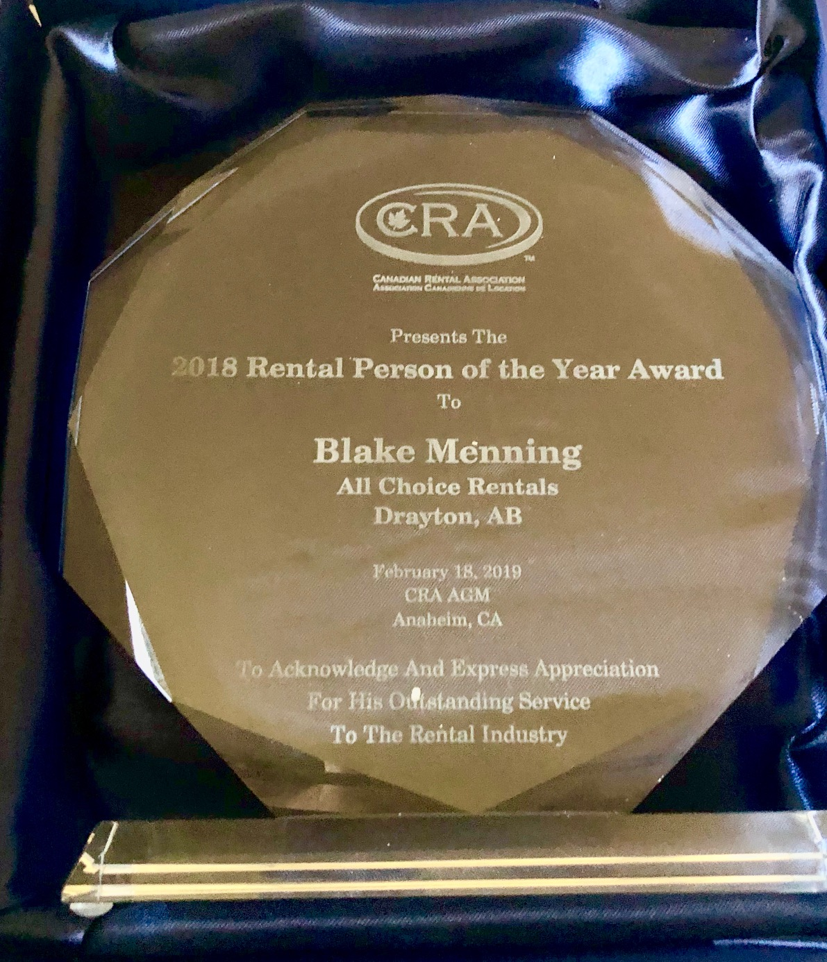 Blake Menning Wins 2018 Canadian Rental Person Of The Year Award